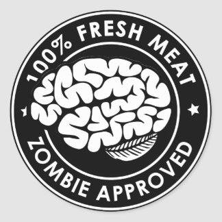 Zombie Approved Inverted Classic Round Sticker