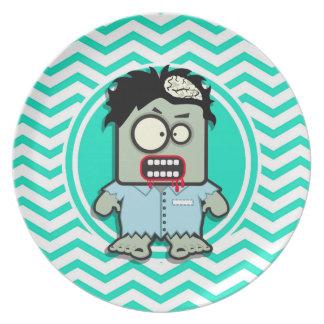Zombie Aqua Green Chevron Party Plate