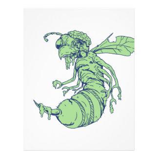 Zombie Bee Cartoon Letterhead