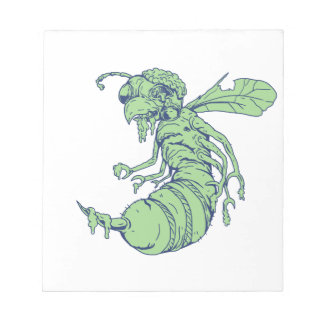 Zombie Bee Cartoon Notepad
