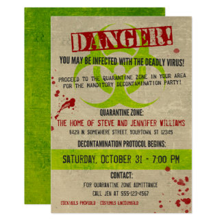 Zombie Biohazard Grunge Halloween Party Invitation