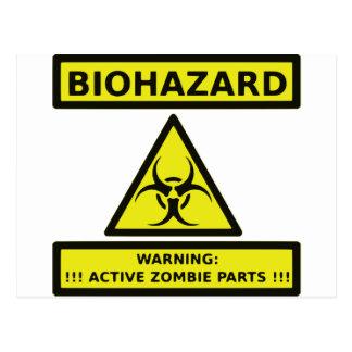 Zombie Biohazard Sign Postcard