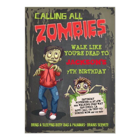 Zombie Birthday Party Invitations