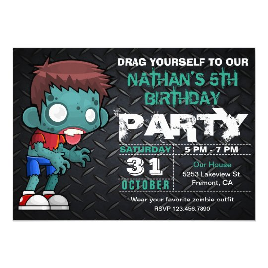 Zombie Boy Halloween Costume Birthday Invitation