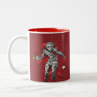 Zombie Broken Heart and Flower Two-Tone Coffee Mug