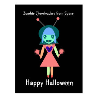 Zombie Cheerleader from Space Happy Halloween Postcard