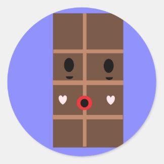 Zombie chocolate bar round sticker