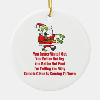 Zombie Claus (green) Round Ceramic Ornament