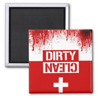 zombie clean dirty dishwasher square magnet