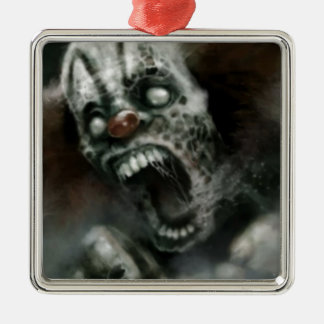 zombie clown Silver-Colored square ornament