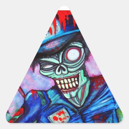 Zombie Cop Triangle Stickers