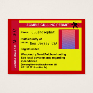 zombie culling permit business card