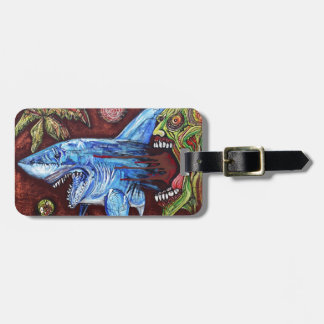 Zombie Eats Shark Luggage Tag
