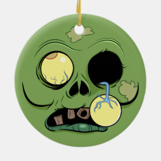 Zombie Face with Eye Popping Out Round Ceramic Ornament