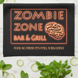 Zombie Food So Fresh Still Screaming Halloween Kitchen Towel
