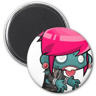 Zombie Girl Cartoon 2 Inch Round Magnet