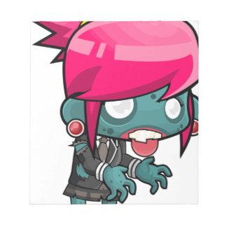 Zombie Girl Cartoon Notepad