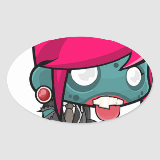 Zombie Girl Cartoon Oval Sticker