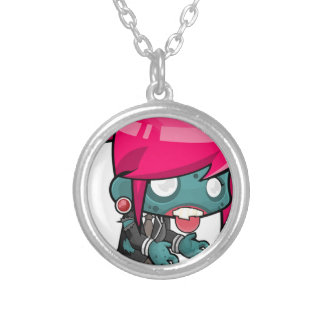 Zombie Girl Cartoon Silver Plated Necklace