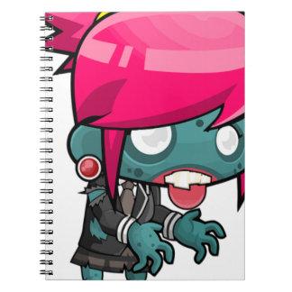 Zombie Girl Cartoon Spiral Notebook