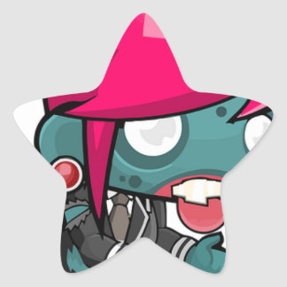 Zombie Girl Cartoon Star Sticker