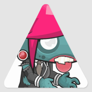 Zombie Girl Cartoon Triangle Sticker