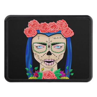 Zombie girl illustration with a crown of roses trailer hitch cover