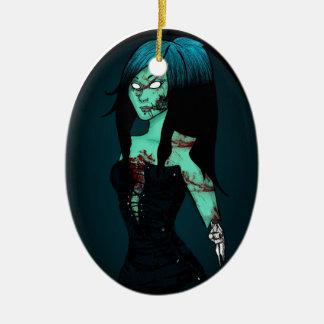 Zombie Girl in Corset Ornament