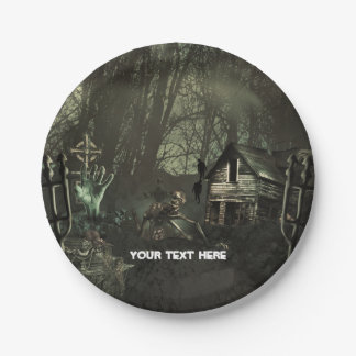 Zombie Graveyard Birthday Party or Halloween 7 Inch Paper Plate
