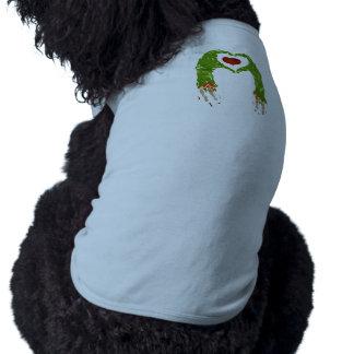 zombie hand making heart dog shirt