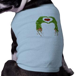 zombie hand making heart dog tshirt