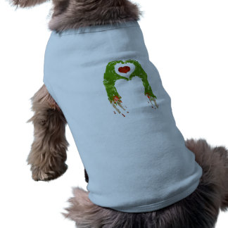 zombie hand making heart pet tee shirt