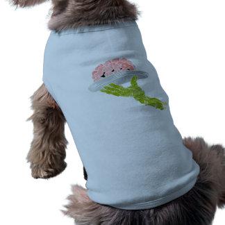 zombie hand serving brain doggie shirt