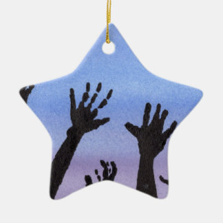 Zombie Hands at Dusk Ceramic Star Ornament