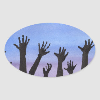 Zombie Hands at Dusk Oval Sticker