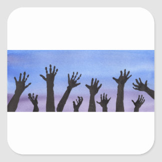 Zombie Hands at Dusk Square Sticker