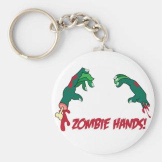 zombie hands basic round button keychain
