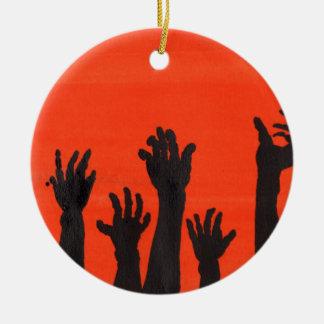 Zombie Hands Orange Round Ceramic Ornament