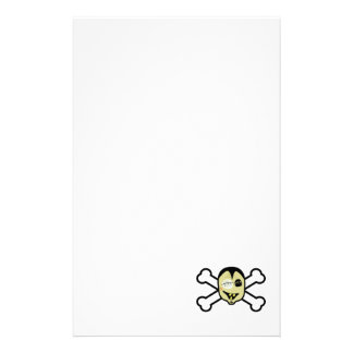 zombie head and crossbones stationery