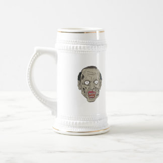 Zombie Head Front Drawing Beer Stein