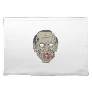 Zombie Head Front Drawing Placemat
