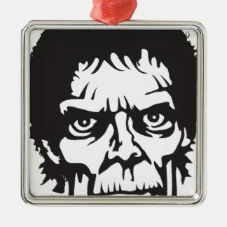 Zombie Head Logo Silver-Colored Square Ornament