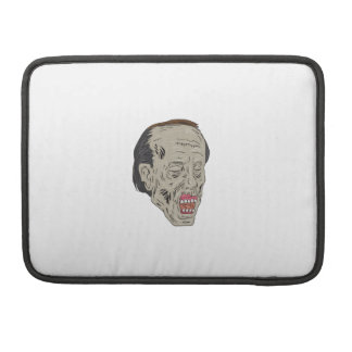 Zombie Head Three Quarter View Drawing Sleeve For MacBooks