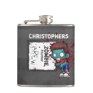 Zombie Hunter Brew Creepy Cool Personalized Hip Flask