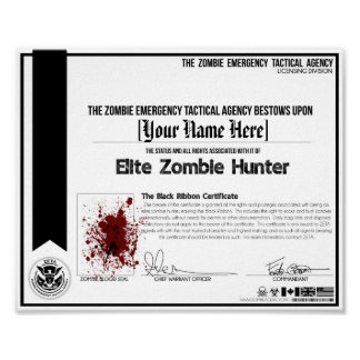 Zombie Hunter Certificate - ZETA! Poster