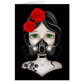 Zombie Hunter Girl with Gas Mask on Black Card