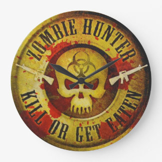 Zombie Hunter Large Clock