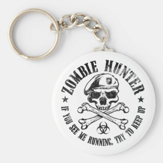 zombie hunter undead living dead basic round button keychain