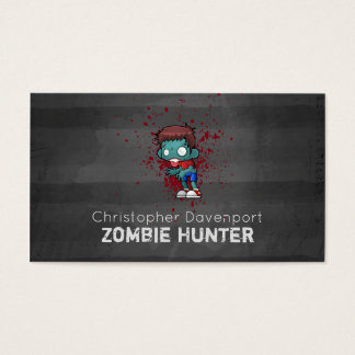 Zombie Hunter with Blood Splatter Creepy Cool Business Card