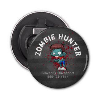 Zombie Hunter with Blood Splatter Creepy Cool Button Bottle Opener